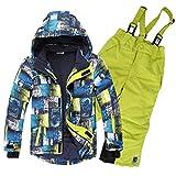 OMSLIFE Kinder Skianzug Skijacke Skihose Regenlatzhose Verdickung Lang Jacket Wintermantel Mantel (grün, 116)