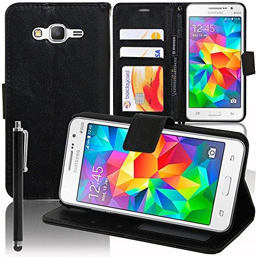 VCOMP Etui-Schutzhülle für Samsung Galaxy Grand Prime SM-G530F/ (4G) Edition SM-G531F / Duos TV SM-G530BT, PU-Leder, Standfunktion, + Eingabestift, Schwarz