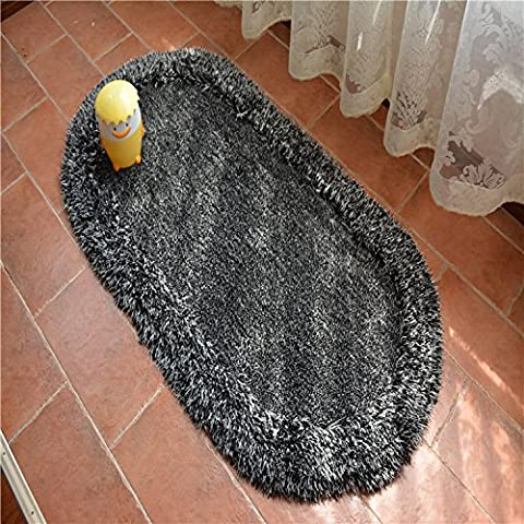 Cifrado espesa alfombra oval ,Negro,70*140cm.