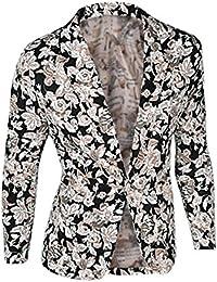 De manga corta para hombre diseño de flores de Prints Allegra K One-botón con manga larga Casual Blazer chaqueta de hípica para niños
