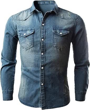 XWLY Men Denim Shirt Long-Sleeve Regular Fit Casual Shirt Washed Denim Comfortable Kent Collar Shirt Classic Spring and Autumn Shirt with Breast Pocket
