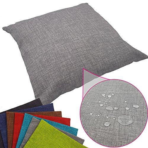 PROHEIM Outdoor Deko-Kissenbezug 50 x 50 cm wasserabweisender Stuhl-Kissenbezug mit Fleckenschutz Sitz-Kissenbezug für Indoor und Outdoor, Farbe:Grau