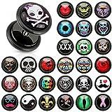 Klar Epoxidharz Kuppel Logo Druck Einlage / Inlay schwarz Acryl Fake Plugs mit O-Ringe (Größe: 1.2 mm, Länge: 6 mm, Kugelgröße: 10 mm, Farbe: Rot Rose)