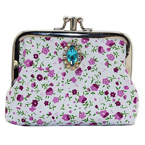 2017 Borse donna,Kangrunmy®Donne floreale fiori Wallet Card Holder portamonete Viola
