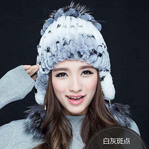 FQG*Winter Sweater capuchon marée cheveux lapin automne hiver lapin du chapeau de paille en cuir chapeaux cheveux , Mme theordinary white Gray