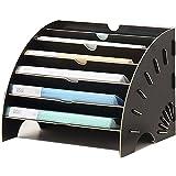 Rangement de Bureau Corbeille à document A4 avec 6 Compartiments Boîte de plaquette combinable Organisateur pour Chemise de p