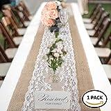 Runner da Tavola Iuta Pizzo Vintage Shabby Rustico Tovaglia Decorativa Rettangolare per Nascita Compleanno Matrimonio Nozze Wedding Cerimonie 30 x 275cm