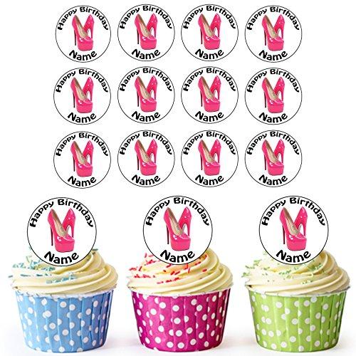 Sexy Pink Heels Schuh 24Personalisierte Essbare Cupcake Topper/Geburtstag Kuchen Dekorationen–Einfache vorgeschnittenen ()