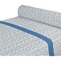 DAGOSTINO HOME Juego de Sabanas para cama de 135, Diseño Kilia azul, Composicion,