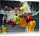 Früchte fallen ins Wasser Format: 100x70 auf Leinwand, XXL riesige Bilder fertig gerahmt mit Keilrahmen, Kunstdruck auf Wandbild mit Rahmen, günstiger als Gemälde oder Ölbild, kein Poster oder Plakat
