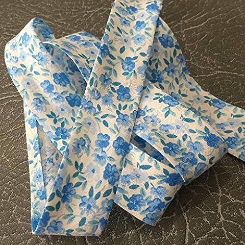 Colore 2201Blu con disegni di alta qualità sbieco 25mm larghezza 100% cotone con Nizza Soft Feel, venduto al metro