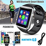 Bositools Newest Wearable W8 Smart-watch Sweatproof Smart Watch Phone /bluetooth 4.0/Easy connection/ Make calls/Support SIM/TF for Apple Iphone 5s/6/6s and 4.2 Android or Above SmartPhones (Black)