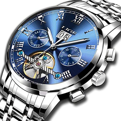 Uhren für Herren,LIGE Automatische Mechanische Uhr Edelstahl Wasserdicht Datum Mode lässig Skelett Tourbillon Armbanduhren Silber blau