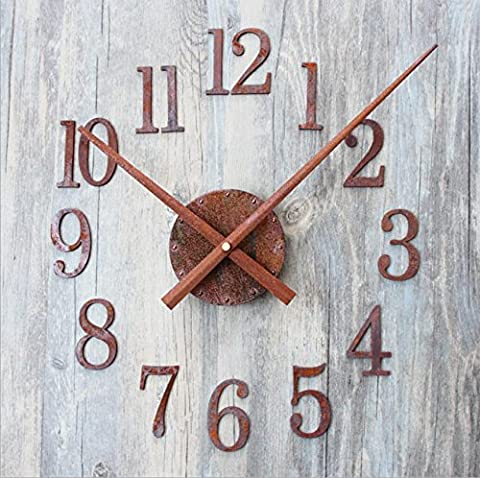GAOHL Vintage Old Metal Wall Clock Quartz Rust Metal DIY Pointer Reversed , forward movement