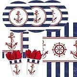 33-teiliges Party-Set maritim Anker auf! Anchors Aweigh - Teller Becher Servietten Tischdecke für 8 Personen