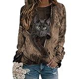 Onsoyours Femmes Pull 3D Chat Imprimé Sweatshirt Top Manches Longues Chat 3D rayé Noir Femme Casual Pull Chat Noir Col Rond T