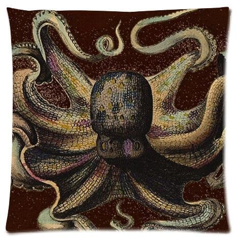 Rainbow octopus Pattern Design Pillow Case,One Side Pillow Case Pillow Cover 18x18 inches