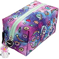 FRINGOO® Large Square Pencil Case Stationery Pouch With Eye Popper Zip Puller (Space Fantasy)