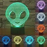 3D Marcianos de la noche Lámpara ajustable 7 colores LED 3d Creative Interruptor táctil estéreo visual atmósfera mesa regalo para Navidad