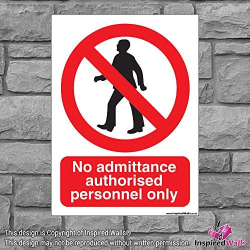 2x No autorisierter zugeben, Gesundheit & Sicherheit Warnung Verbot Schild Aufkleber -
