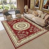 GCC Im Europäischen Stil Teppich-Wohnzimmercouch Tisch Teppich Schlafzimmer Bett Garderobe Küche Esszimmer Teppich Baby Crawling Matte, Rot,02,120×180Cm