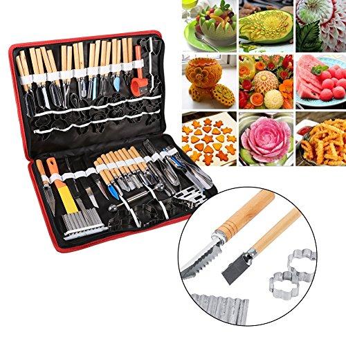 Schneide-Set für Gemüse, Lebensmittel, Obst, 80-teilig,Edelstahl, Küchen-Schnitzwerkzeug, Meißel, mit Tasche