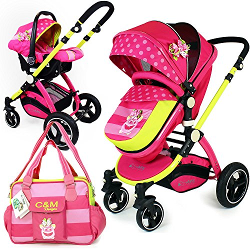 i-Safe System – Mea Lux Trio Travel System Pram & Luxury Stroller 3 in 1 Complete With Car Seat And Bag 61Cm1ck5ZSL