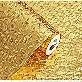 WOLONG 3D Wandaufkleber Mosaik Wasserdicht 0,53 m * 10 m Plaid Goldfolie Tapeten Panels Peel Aufkleber für KTV Bartheke Säule Decor Wandbild Kunst Aufkleber Home Dekoration,Gold