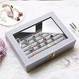 BUCKETLIST® Women Velvet Glass Ring Earrings Jewellery Box Display Storage Showcase Holder Organizer,Ring Display Box Velvet