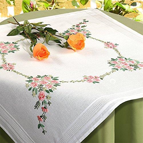 Kamaca - set per ricamo a punto croce, motivo floreale, 80 x 80 cm, con ricamo e filo in 100% cotone, cucito con bordo decorativo, qualità molto alta, pronto all'uso, dimensioni: 80 x 80 cm