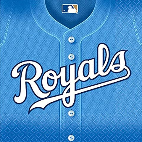 Amscan MLB Kansas City Royals Luncheon Party Napkins (36 Piece), Blue, 6.5 x 6.5 by Amscan