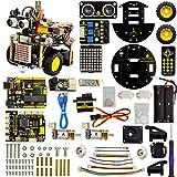 KEYESTUDIO für Arduino Roboter, Arduino Starter Kit Roboter Bausatz mit UNO R3, Line Tracking Modul, Ultraschallsensor, Bluetooth-Modul, IR Remote usw STEM Toys für Kinder und Erwachsene