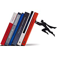 Dreamkraft Super Hero Black Metal Bookends Book Stopper for Gift and Home Decor