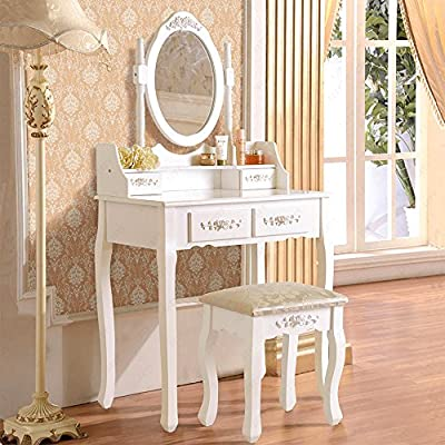 UEnjoy White Dressing Table with Stool and Mirror Makeup Desk Bedroom Furniture produced by JIAJU - quick delivery from UK.