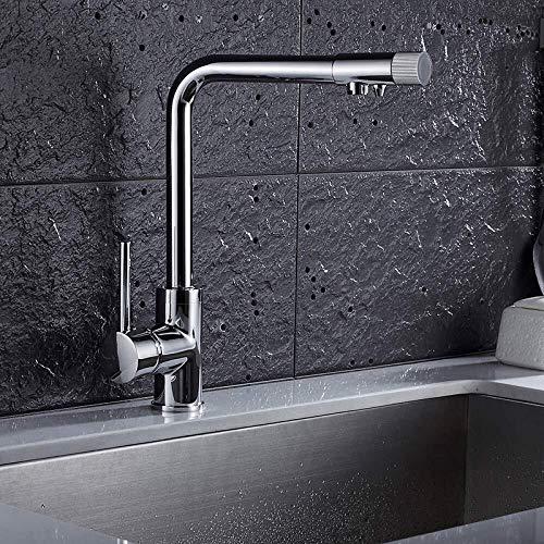 Dapai Silber Kupfer Heiß Und Kalt Küche Wasserfilter Doppel Wasserhahn, Waschbecken Wasserhahn, Drehbar, A H006 (Delta Trinkwasser Wasserhahn)