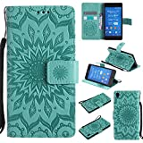 For Sony Xperia Z3 Case [Green],Cozy Hut [Wallet Case] Magnetic Flip Book Style Cover Case ,High Quality Classic New design Sunflower Pattern Design Premium PU Leather Folding Wallet Case With [Lanyard Strap] and [Credit Card Slots] Stand Function Folio Protective Holder Perfect Fit For Sony Xperia Z3 5,2 inch - green