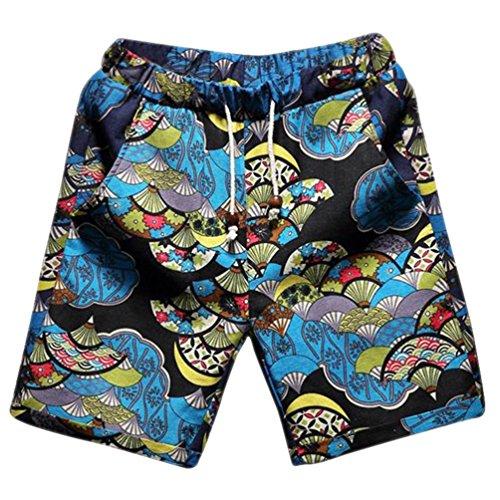 CHENGYANG Herren Große Größe Leinen Freizeit Shorts Druck Boardshorts mit Taschen 5132