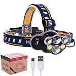 Phoneix USB Rechargeable LED Headlamp Headlight, Waterproof 8 Modes Operation 6 Head Bright Torch for Camping,Cycling...