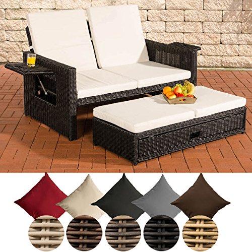 CLP Polyrattan 2er Loungesofa Ancona I Rundrattan Garten-Sofa mit ausziehbarem Fußteil und Verstellbarer Rückenlehne Rattan Farbe schwarz, Bezugfarbe: Cremeweiß