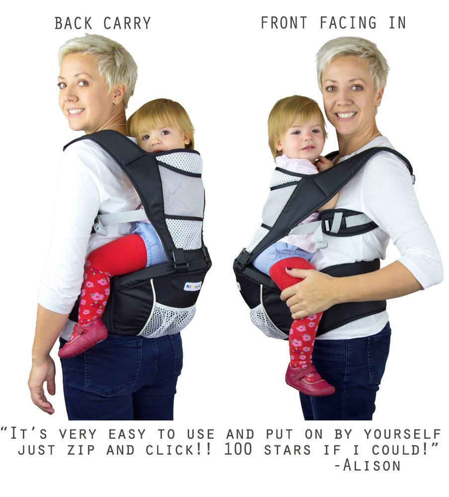 Baby Carrier Hip Seat Sling by NimNik Best Safe Backpack Carriers Back Pain Support (Pearl Black) NimNik ★ NO MORE BACK AND SHOULDER PAIN - NimNik offers an innovation in baby carrying fashion and quality for girls and boys! This Soft Structured Baby Carrier is not only versatile with four different carry positions, but perfectly comfortable for both you and your little one. That twined with unmatched durability makes NimNik Baby Carriers a popular choice in ergonomic baby carriers! ★ DESIGNED FOR STYLE AND COMFORT - With superior padding in our adjustable EXTRA LONG WAIST STRAPS (50 inches / 125 cms) and ergonomic lumbar support for you, say goodbye to backpain and other back, hip and shoulder related carrying issues. With the extremely ergonomic hip seat, you can rest assured that your little one is sitting pretty in style and comfort no matter how you carry! ★ PREMIUM COTTON FOR SOFT AND COSY FEELING - From front facing out and facing in, to hip, to back carry, you'll be comfortable, and so will children. Not every baby likes to be carried the same way, from 6 months and up. Our baby carrier comes with a wide range of comfortable carry positions to use as best suits the both of you, without the back pain after maternity. 3