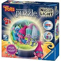 Ravensburger Italy 11796 - Trolls Puzzle 3D Ball Lampada Notturna, 72 Pezzi