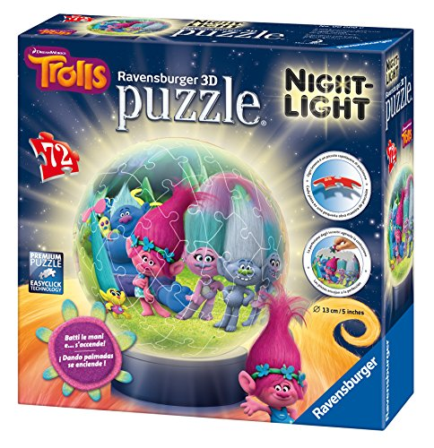 Preisvergleich Produktbild Ravensburger 11796 - Trolls - 72 Teile Puzzleball für Kinder, mit Beleuchtung