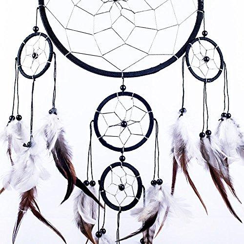 Atrapasueños Negro Tradicional Hecha A Mano Blanco Y Plata 20cm