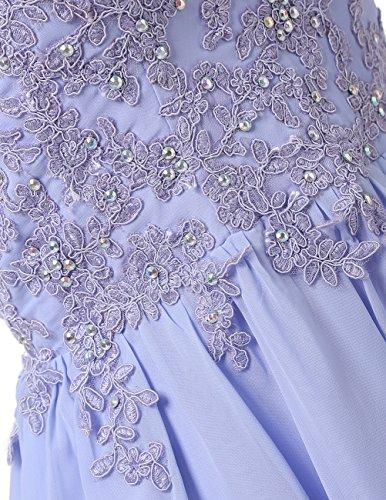 Dresstells Robe courte de soirée de cocktail Robe de demoiselle d'honneur avec appliques Blanc