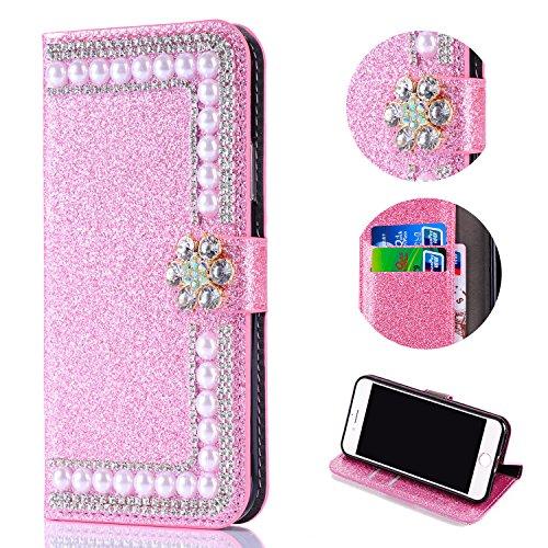 Shinyzone Huawei P20 Lite Glitzer Brieftasche Hülle,3D Blume Diamant Luxus Strass Magnetverschluss PU Leder Handytasche mit Kartenfächer,Kratzfest Stoßfest Silikon Bumper,Rosa