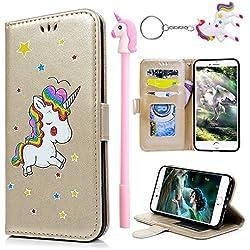 E-Mandala Funda Samsung Galaxy S5 Piel Unicornio Carcasa con Tapa Libro PU Cuero Leather Silicona Bumper Case Completa Protectora Folio Tarjetero - Oro