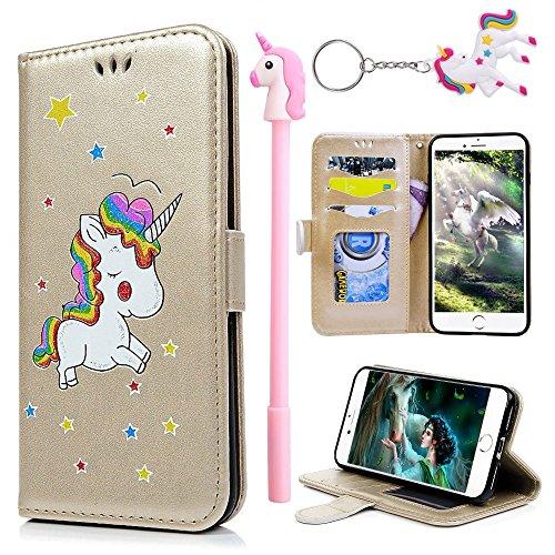 E-Mandala Funda iPhone 7 iPhone 8 Piel Unicornio Carcasa con Tapa Libro PU Cuero Leather Silicona Bumper Case Completa Protectora Folio Tarjetero - Oro