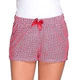 Babella 3091-1 Pyjamashorts Damen Nachtwäsche Kurz Kariert Unterteil EU, rot-weiß,S