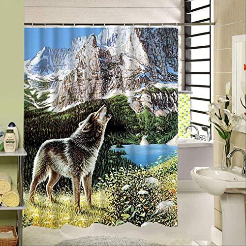 HHIAK666 Dusche Vorhang Wolf In Den Blauen Himmel Nacht Himmel Mode Tier Wolf Muster Polyester Stoff Wasserdicht Badezimmer Dekor 180X200CM h (Stoff Dusche Vorhang Tiere)