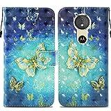 Ooboom® Motorola Moto E5/G6 Play Hülle 3D Flip PU Leder Schutzhülle Stand Handy Tasche Brieftasche Wallet Case Cover für Motorola Moto E5/G6 Play - Schmetterling Gold